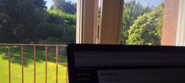"My temporary ""office"" at my parent's home in Germany. I love the view!"